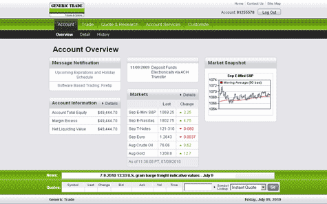 screenshot of generic trader online trading platform for futures and markets trading